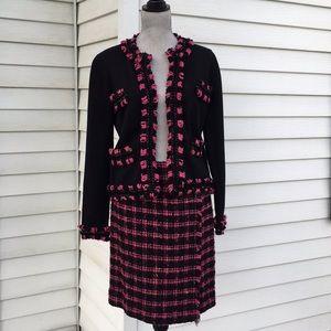 Carlisle tweed skirt cardigan suit silk cashmere